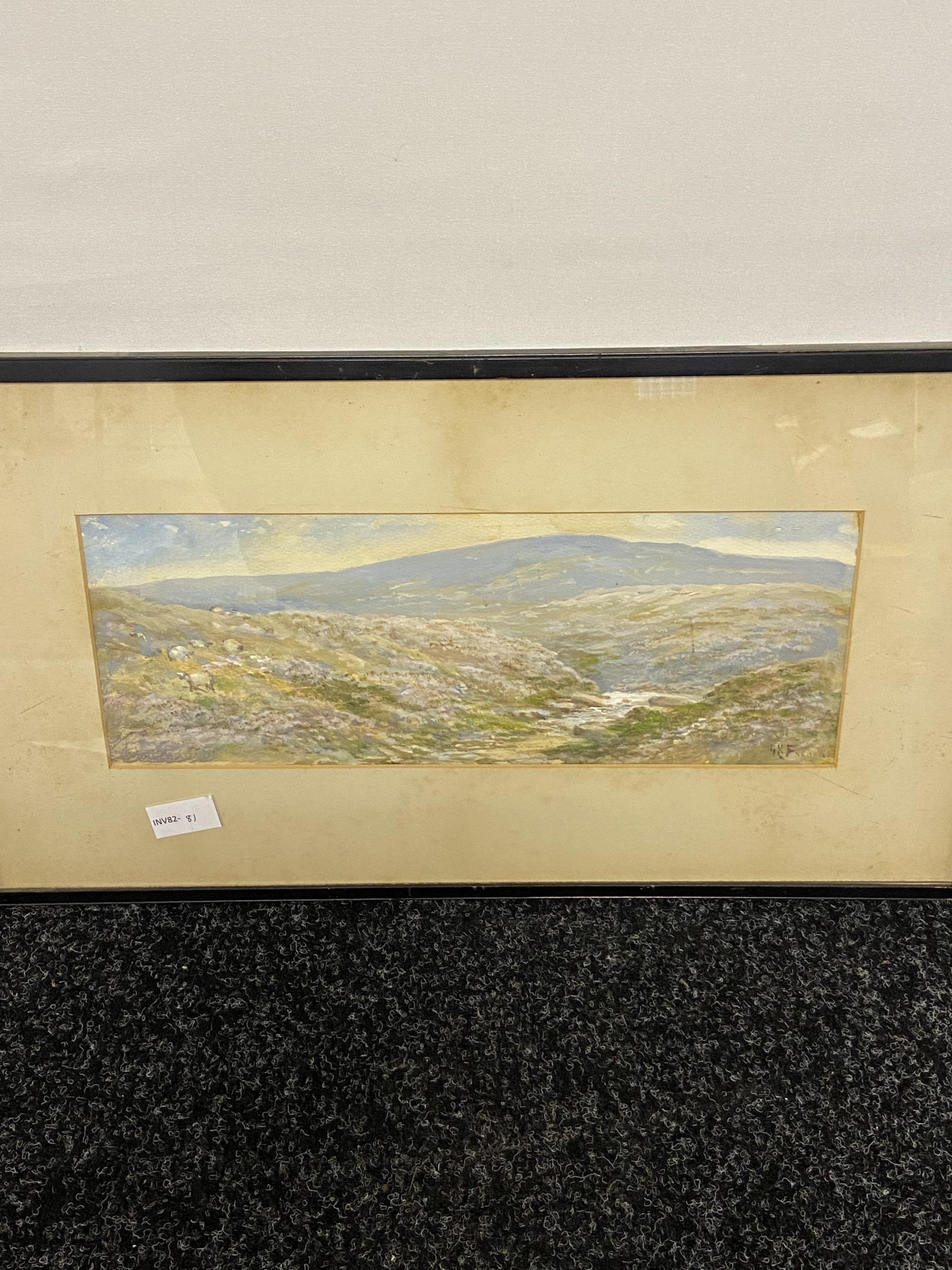 Antique original watercolour depicting sheep in a valley scene. Signed by the artist [Unreadable] [
