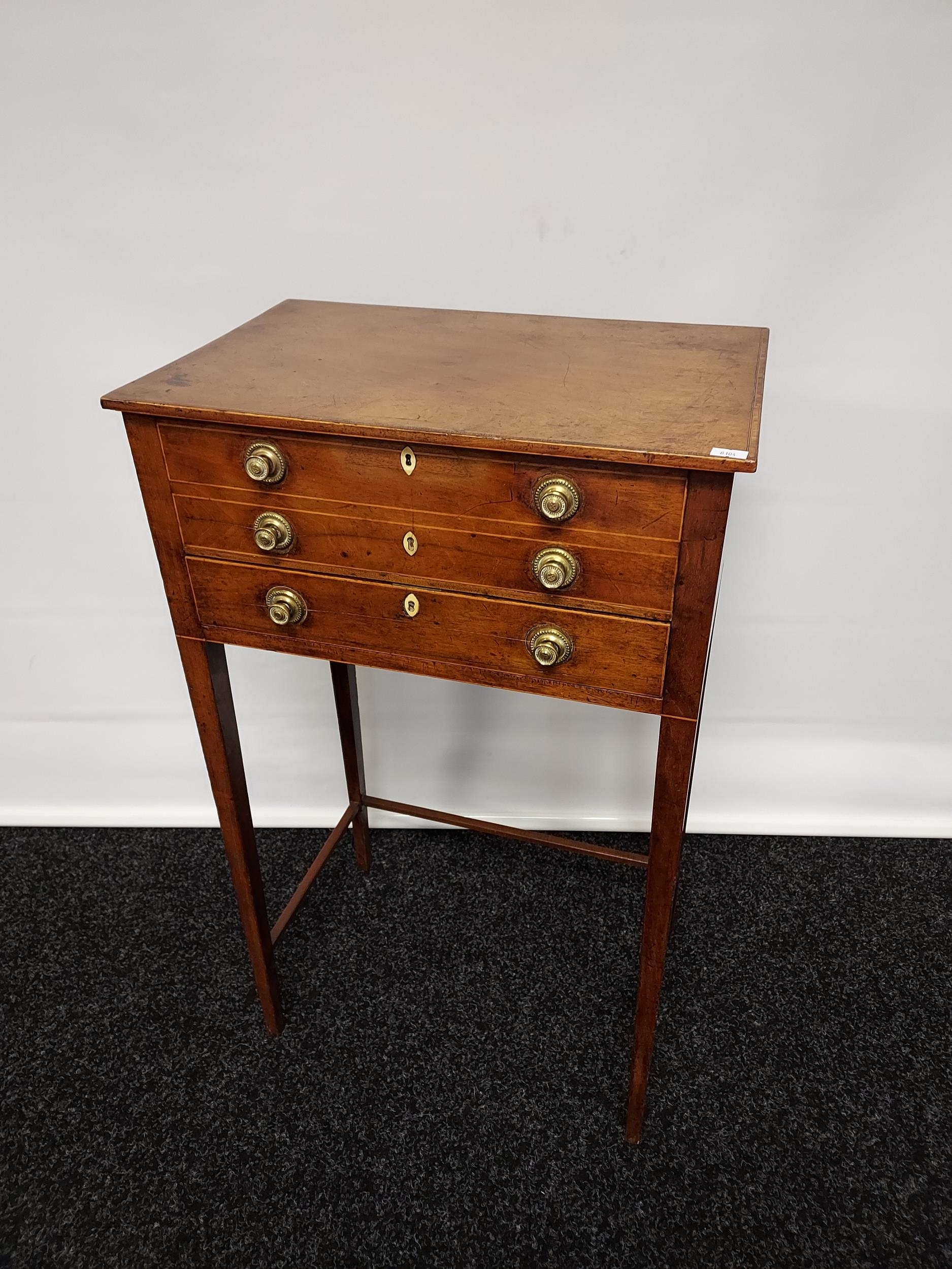 Georgian mahogany lift top console table, one centre drawer under two false drawers, raised on