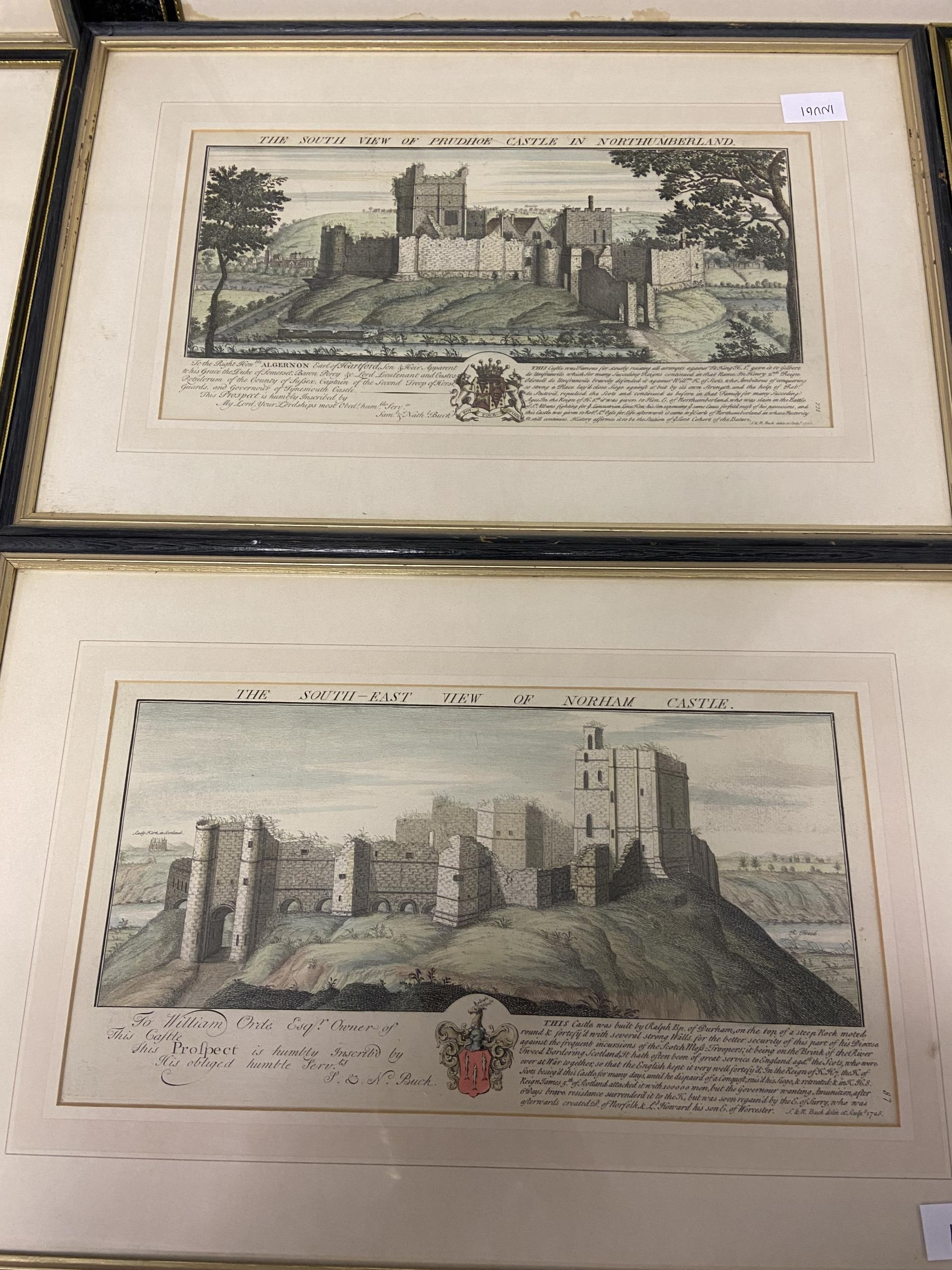 A Collection of 18th century coloured engraving of landmarks of Northumberland, Durham, Norham - Image 5 of 7
