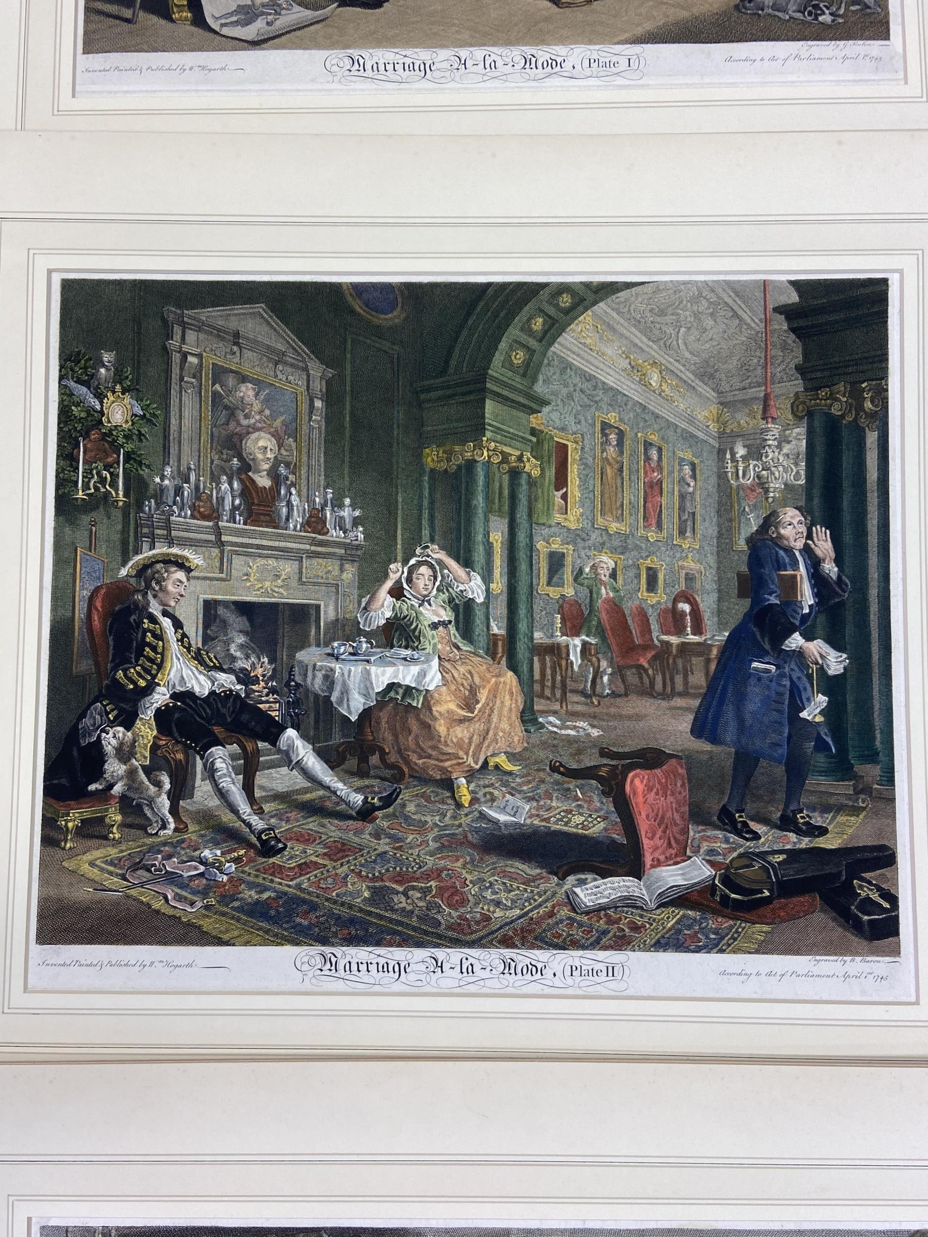 A Set of 6 18th century coloured engravings titled 'Marriage A- LA Mode' Painted, engraved and - Image 3 of 10