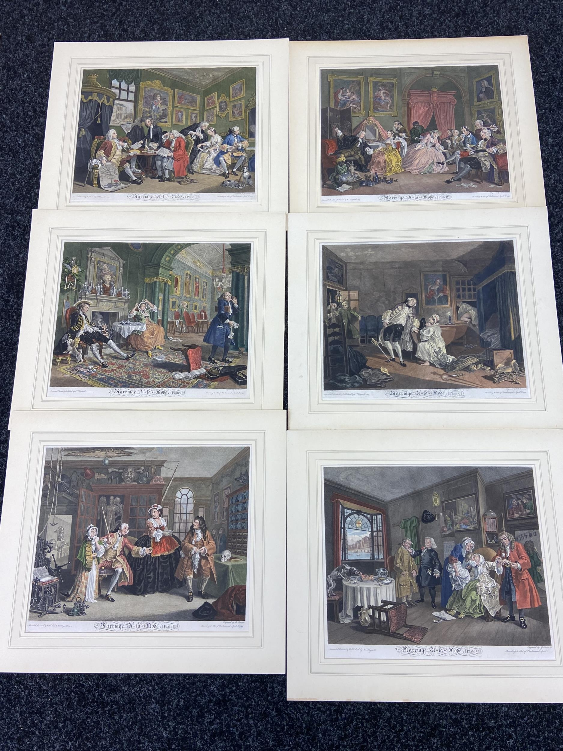 A Set of 6 18th century coloured engravings titled 'Marriage A- LA Mode' Painted, engraved and
