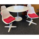 Tulip dining table with four swivel chairs by Maurice Burke for Arkana in early 1960's, Design