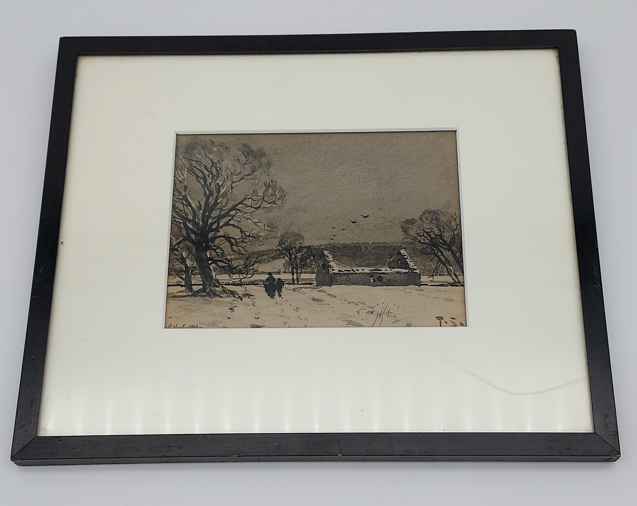 An early 1900's watercolour depicting a winter night scene. Signed T.S. Dated 1909.