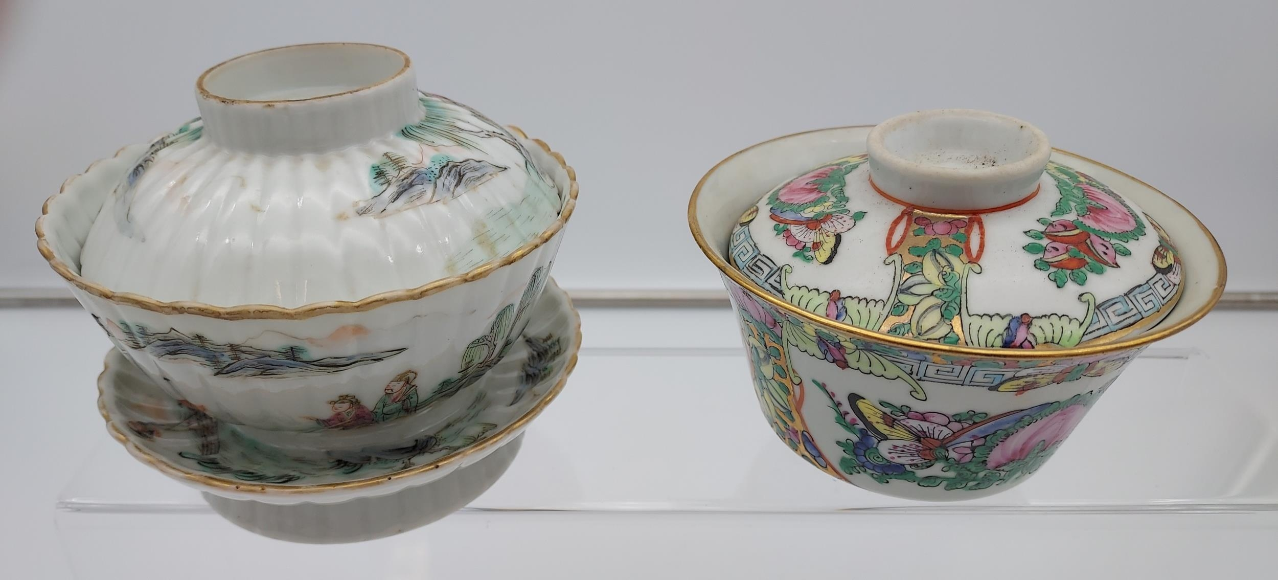 An Antique Chinese Daoguang 1821-50 tea cup, stand and lid. Hand painted with various fishing