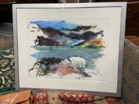 Don McNeil [Scottish] A Large original watercolour titled 'A foam the sea' fitted within a silver