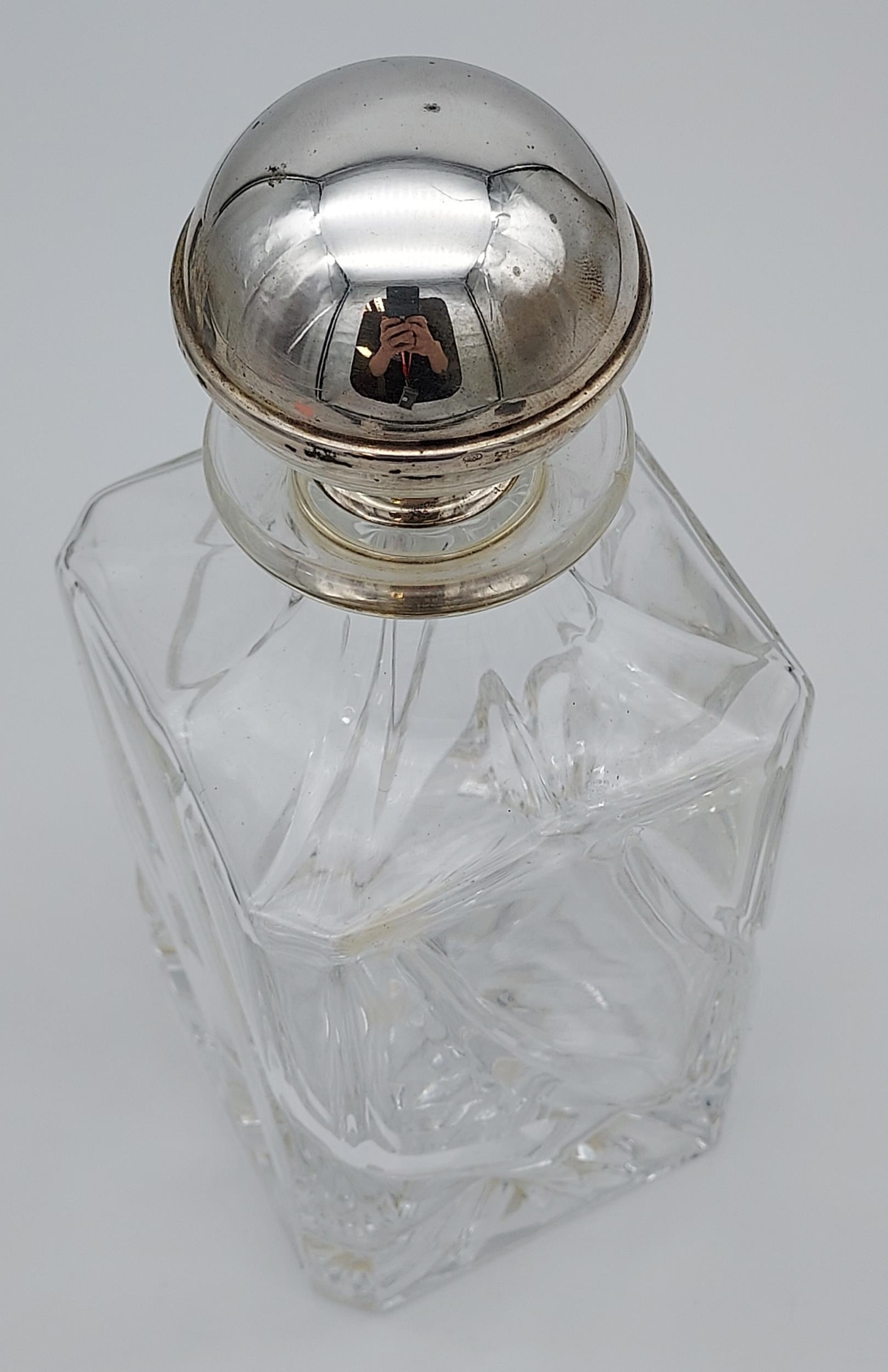 Crystal decanter with a 800 grade silver stopper, with 6 matching drinks glasses with silver - Image 8 of 8
