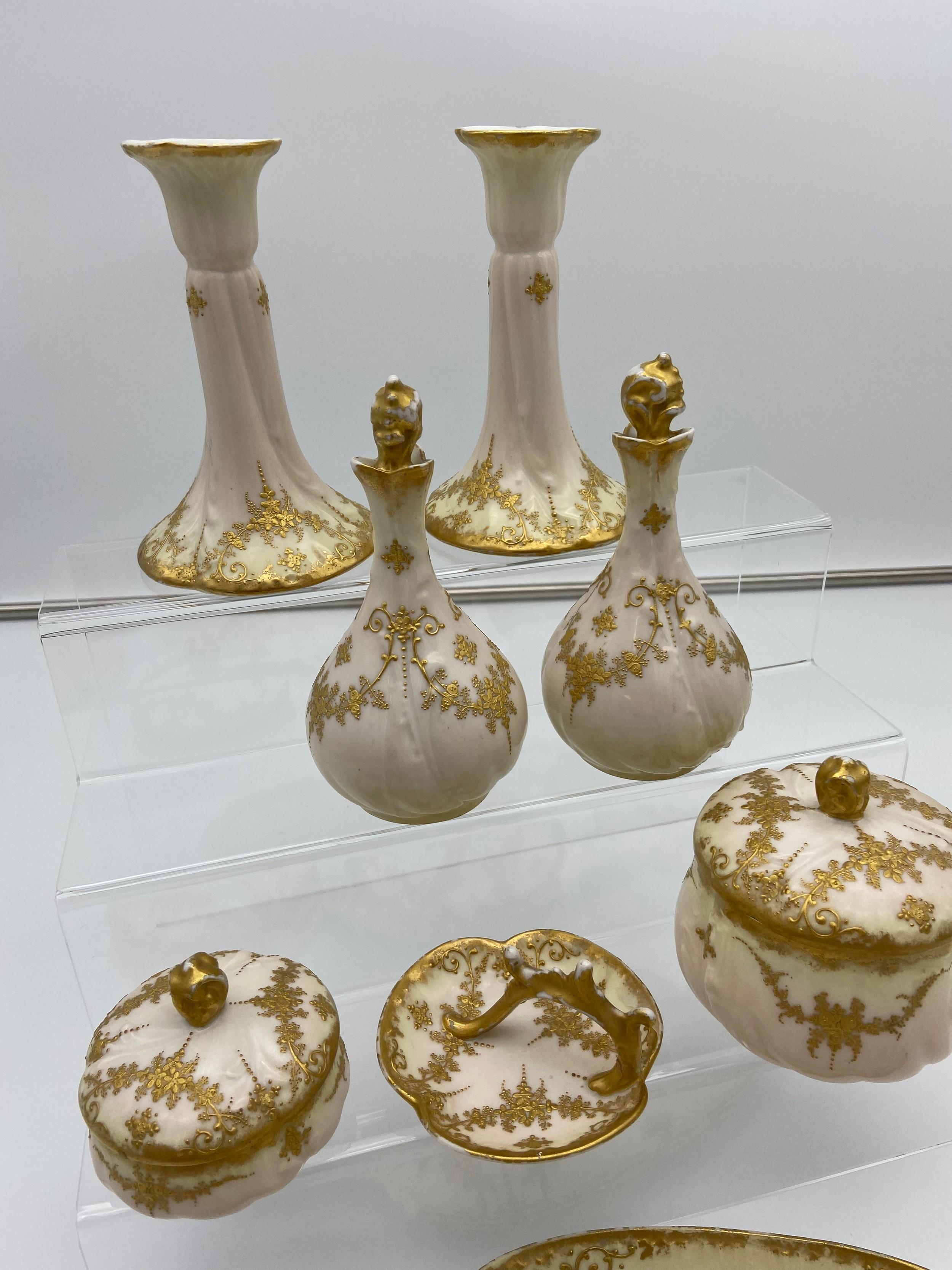 A Vintage French M Redon Limoges porcelain dressing table set. - Image 3 of 4