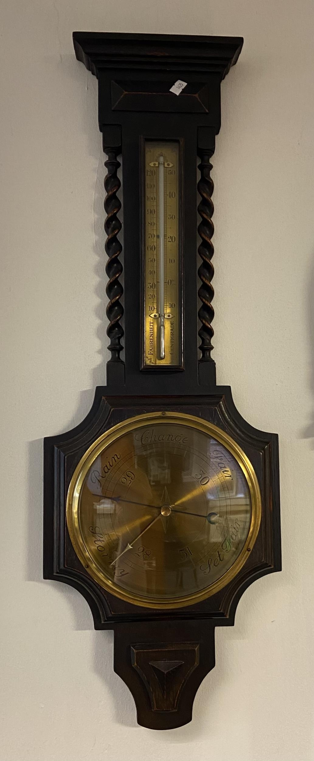 Antique W.B. McCallum Perth brass face wall barometer. Mercury Thermometer. [80cm in length]