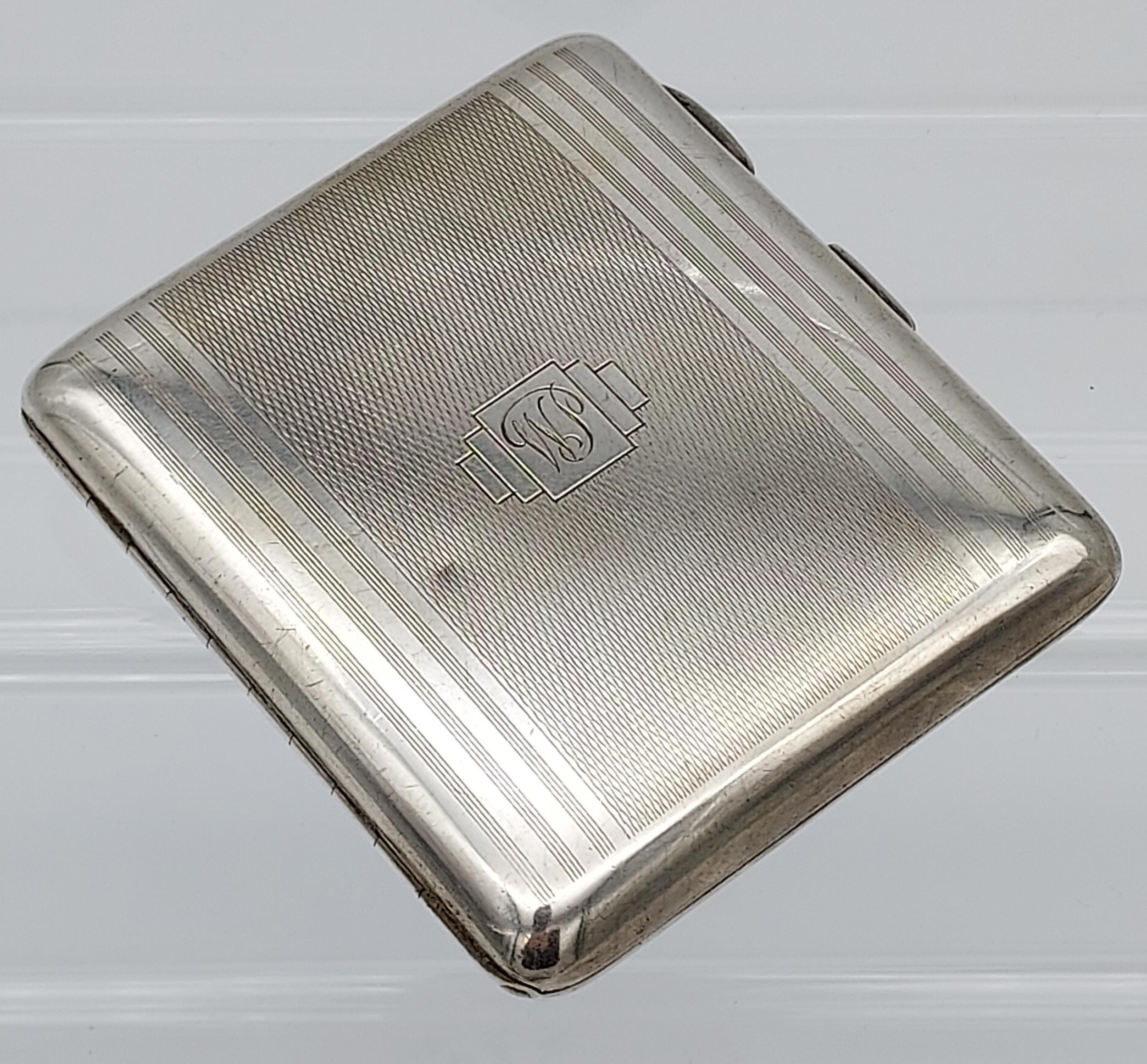 A Birmingham silver Art Deco design cigarette case [99.96grams] - Image 2 of 5