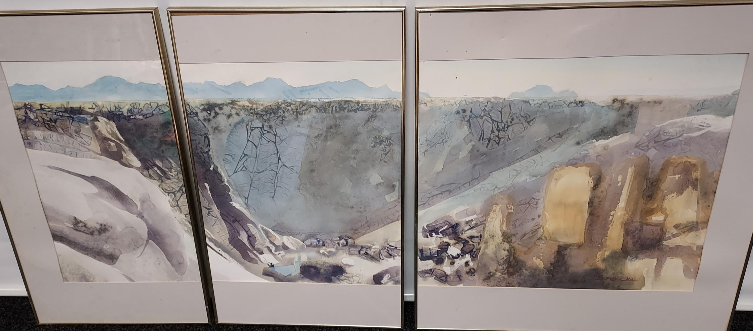 Ulrich Schwanecke [1932-2006] Original watercolour titled 'Augrabie Gorge [3 in 1]' exhibited in