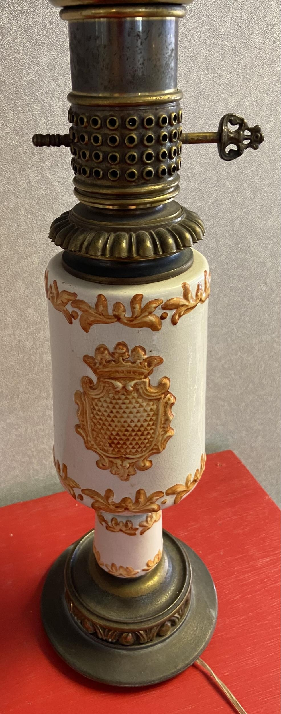 An Antique porcelain, metal and glass shade paraffin lamp converted to electric. [72cm in height] - Image 3 of 3