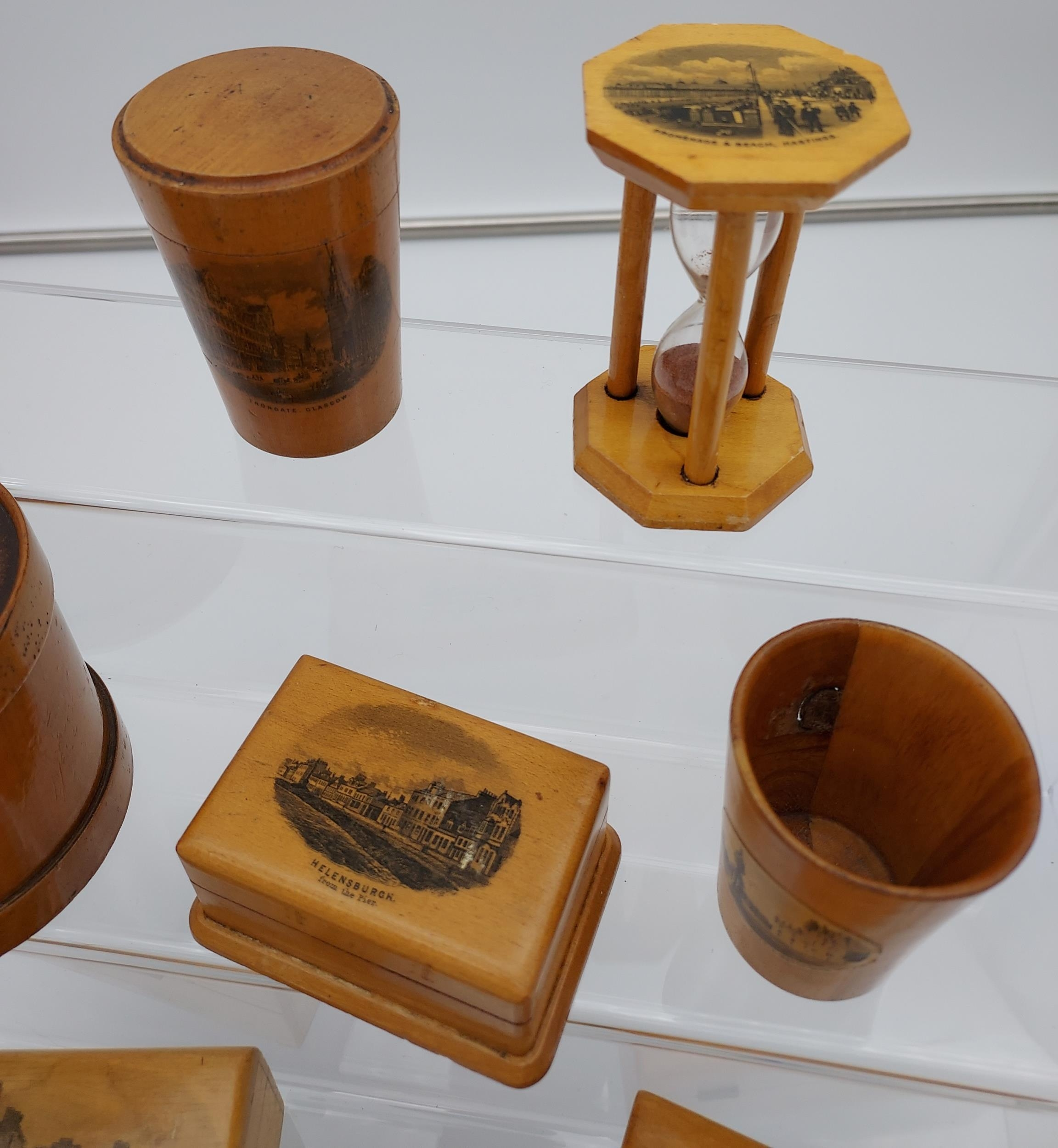 A Lot of 8 pieces of Mauchline ware to include Egg timer, money box, trinket boxes and shot glass - Image 2 of 4