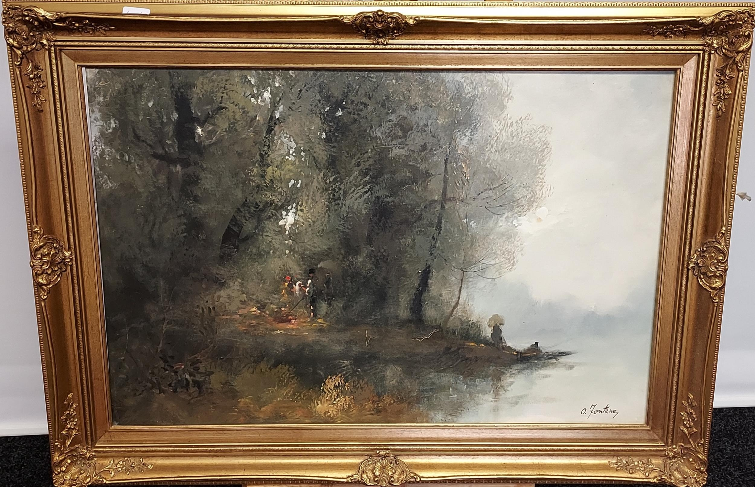 A Large oil painting on canvas depicting various figures fishing and by the fire. Signed A