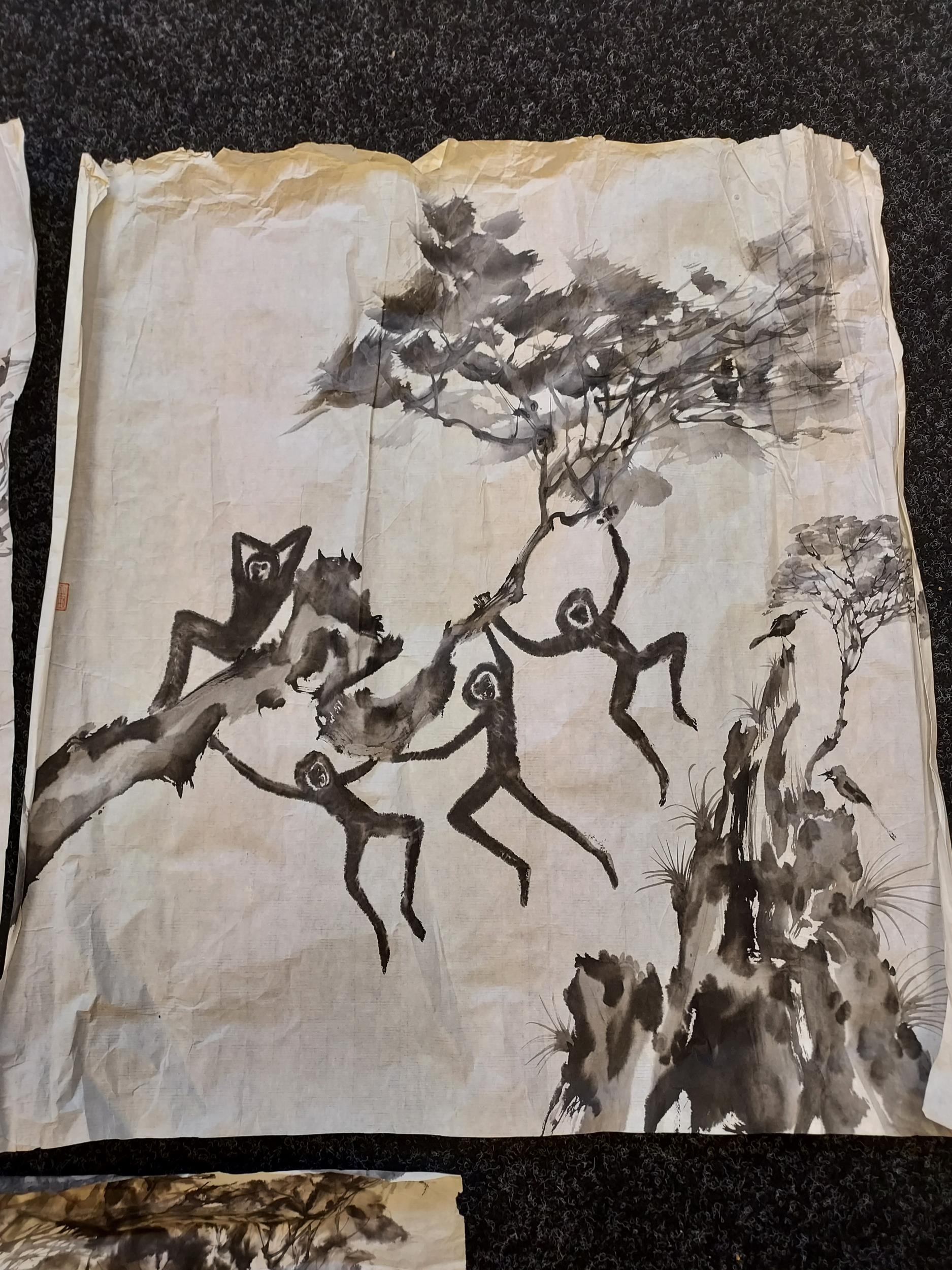 A selection of Japanese ink wash paintings depicting various monkey figures [signed by artist] - Image 3 of 4