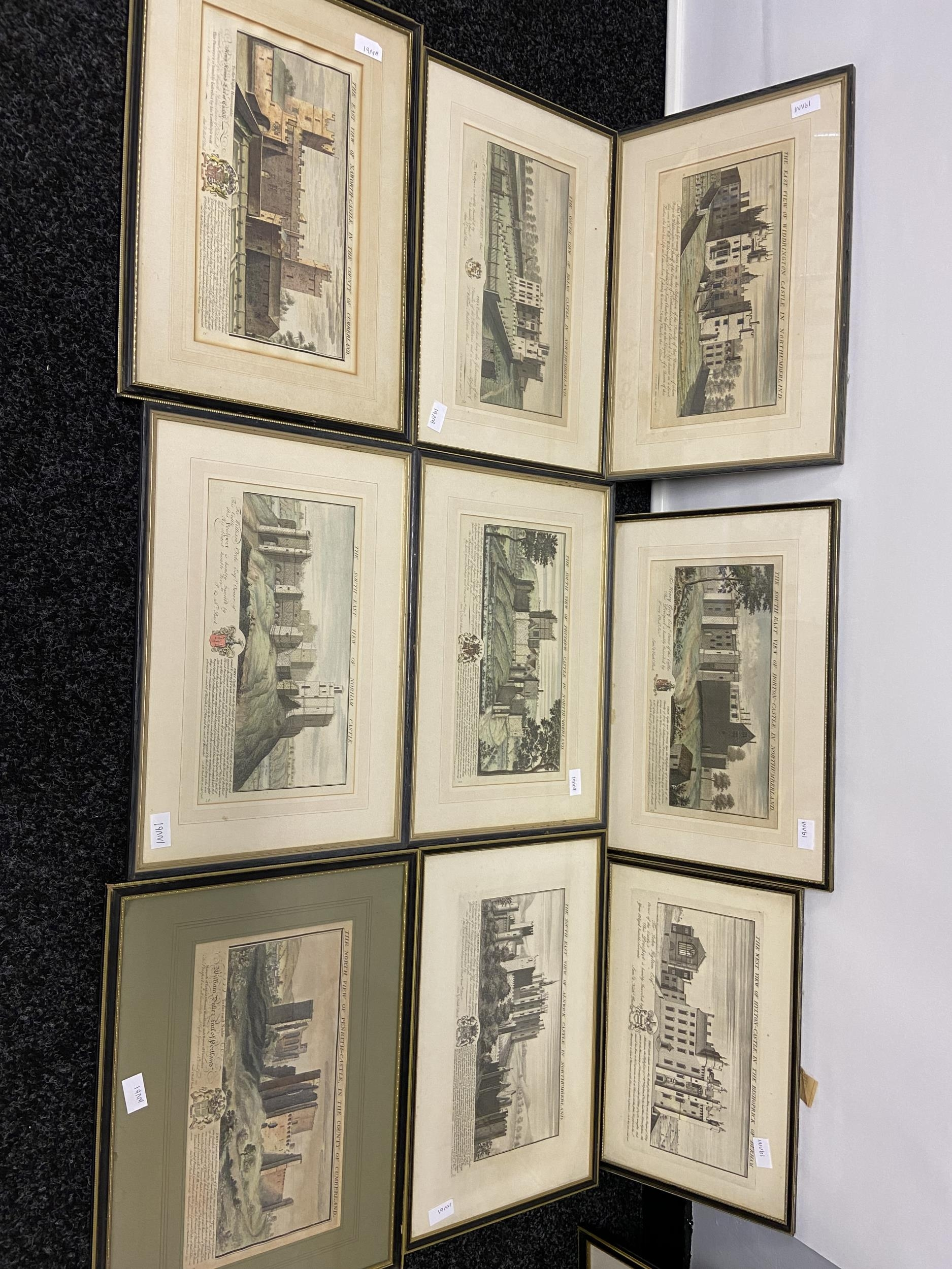 A Collection of 18th century coloured engraving of landmarks of Northumberland, Durham, Norham