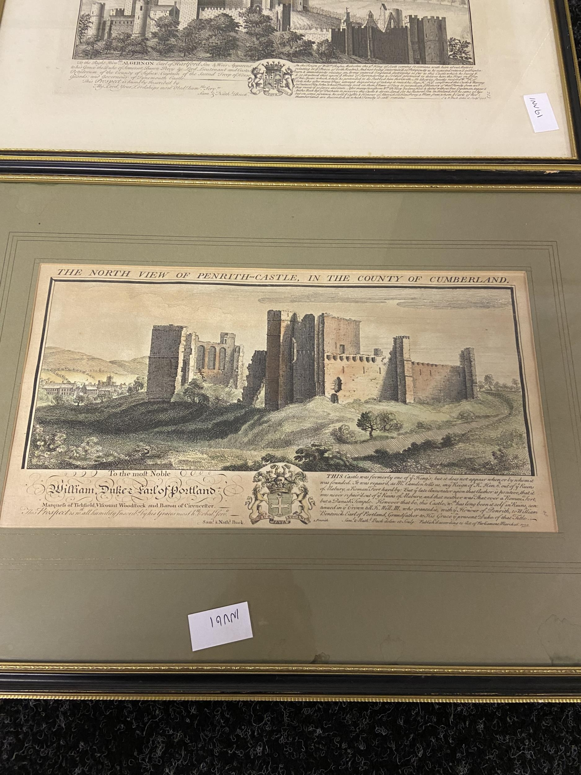 A Collection of 18th century coloured engraving of landmarks of Northumberland, Durham, Norham - Image 2 of 7