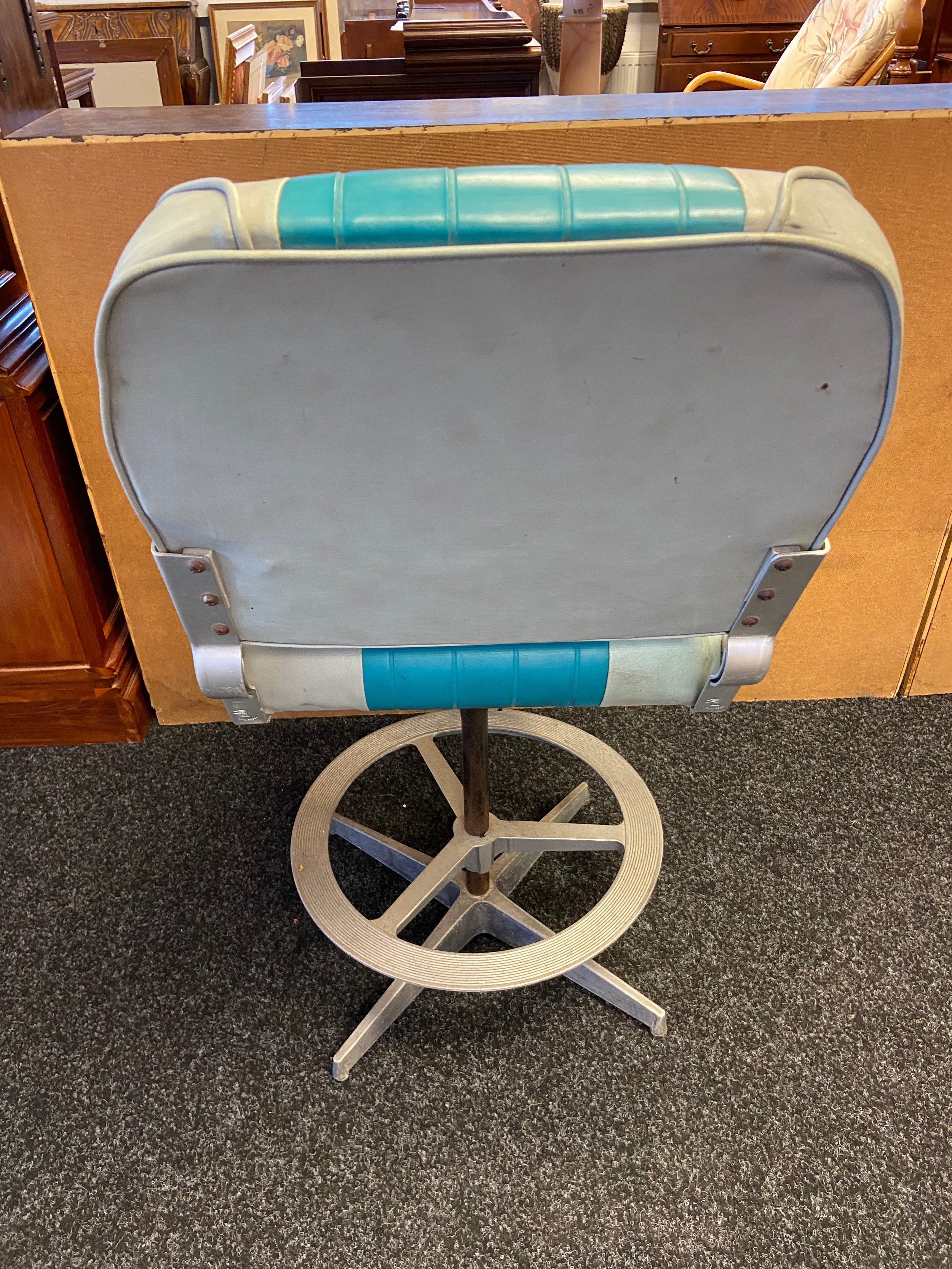 A 50's Upcycled, Heavy duty vinyl speed boat chair. Finished with an industrial base. [100cm in - Image 3 of 4