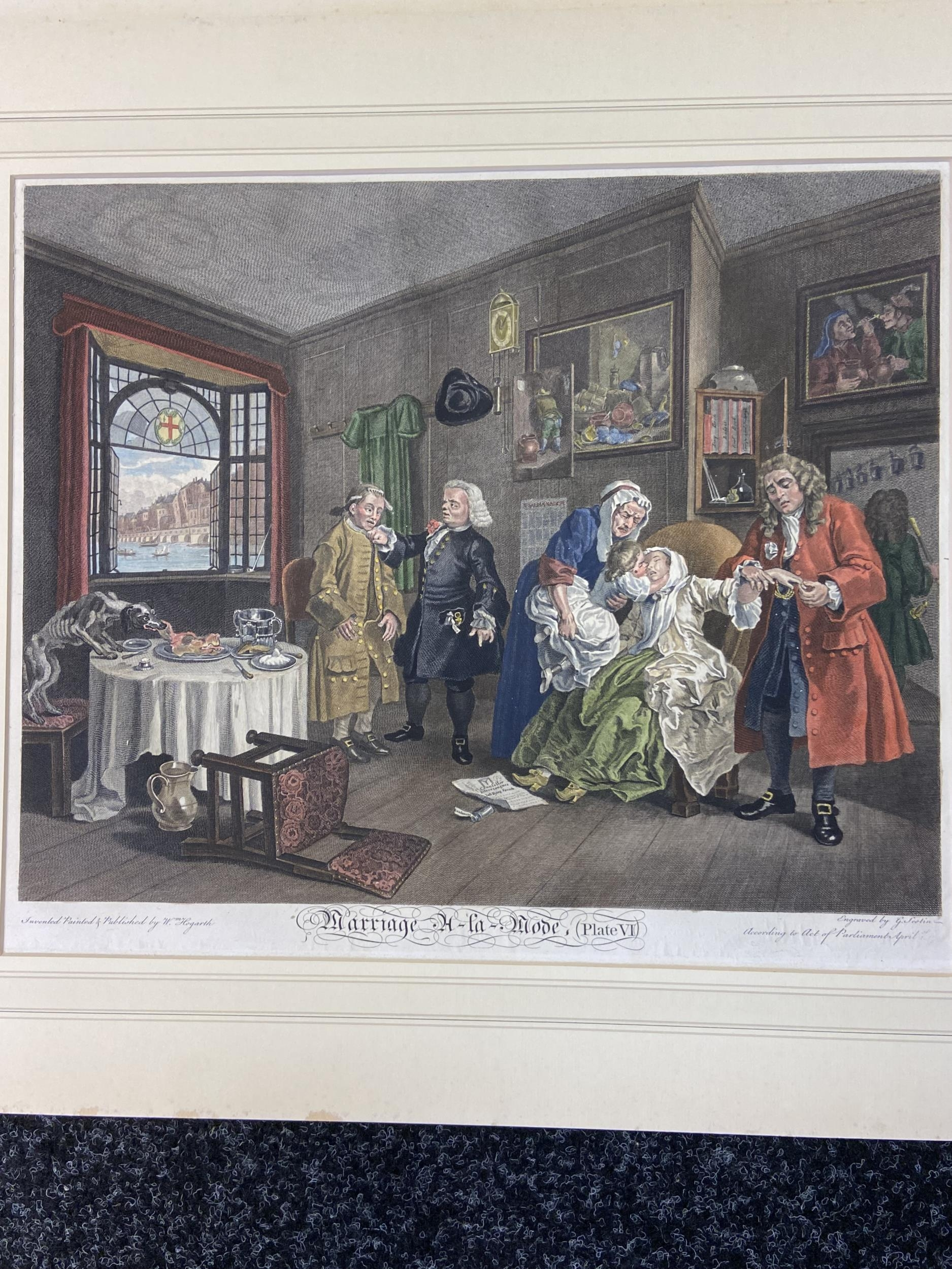 A Set of 6 18th century coloured engravings titled 'Marriage A- LA Mode' Painted, engraved and - Image 7 of 10