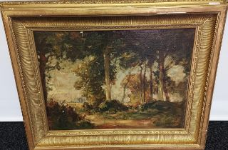 A 19th century Oil painting on canvas depicting woodland scene. Fitted within an ornate gilt