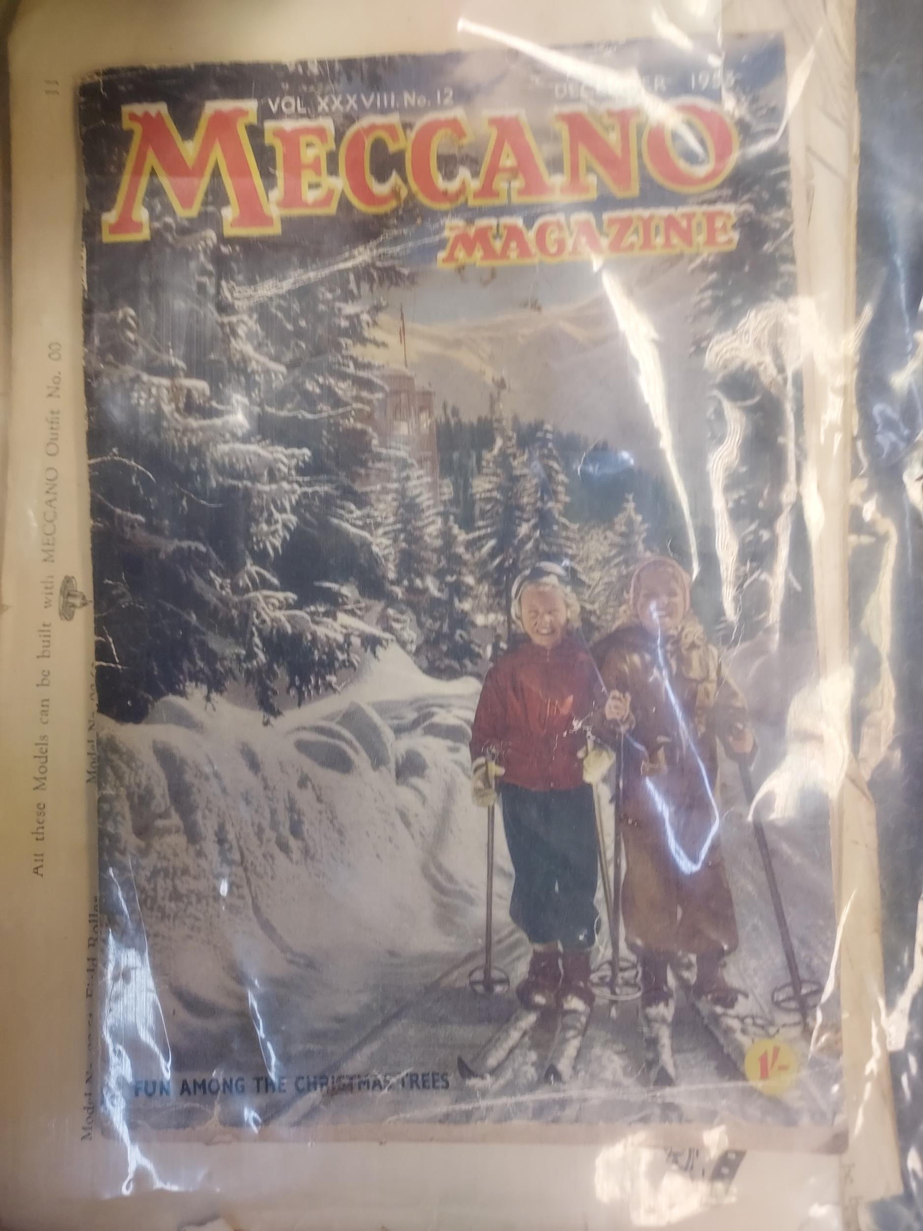 A Box containing a selection of various Meccano parts, magazines and instructions. - Image 2 of 3