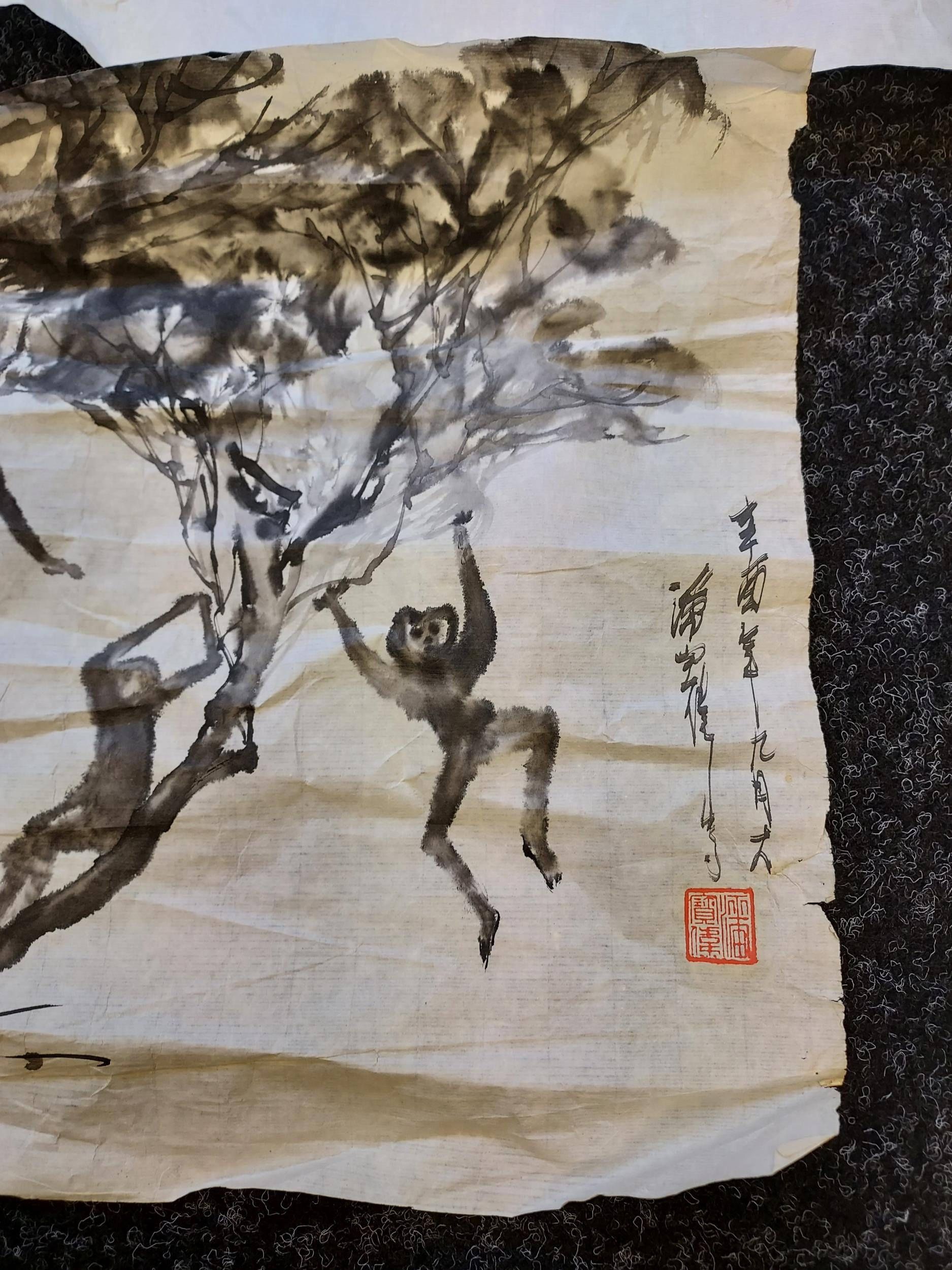 A selection of Japanese ink wash paintings depicting various monkey figures [signed by artist] - Image 2 of 4