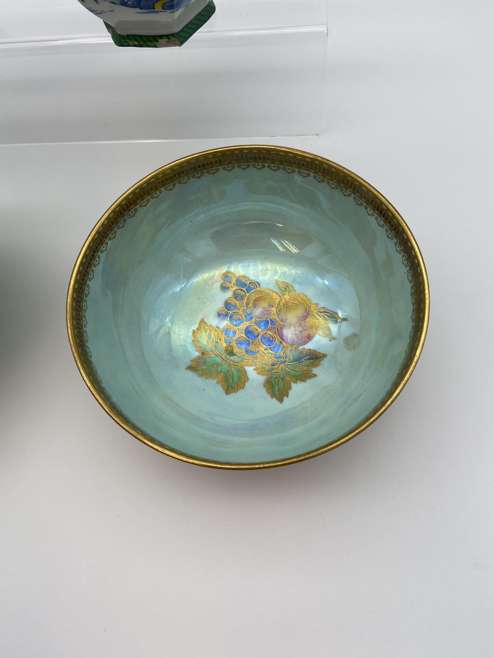 Maling crane design bowl, Wedgwood lustre fruit pattern bowl, Royal Worcester water jug [as found] & - Image 4 of 9