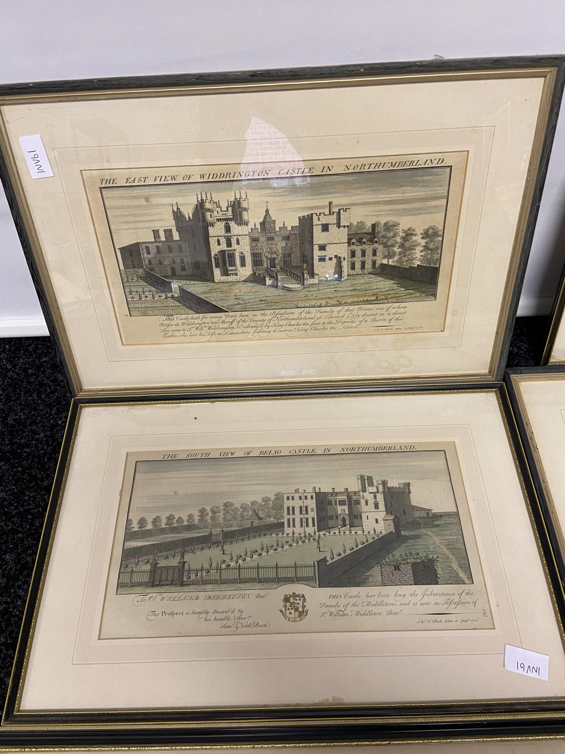 A Collection of 18th century coloured engraving of landmarks of Northumberland, Durham, Norham - Image 7 of 7