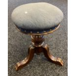 19th century Paterson Sons & Co. Dundee. Swivel rise and fall piano stool. [52cm in height]