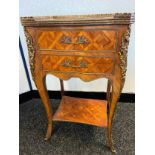 Antique Louis style two drawer console table, designed with ormolu mounts and trims. [69x44x33cm]