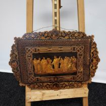 An 19th century Marquetry Jesus and his Disciples wall plaque [48x68cm]