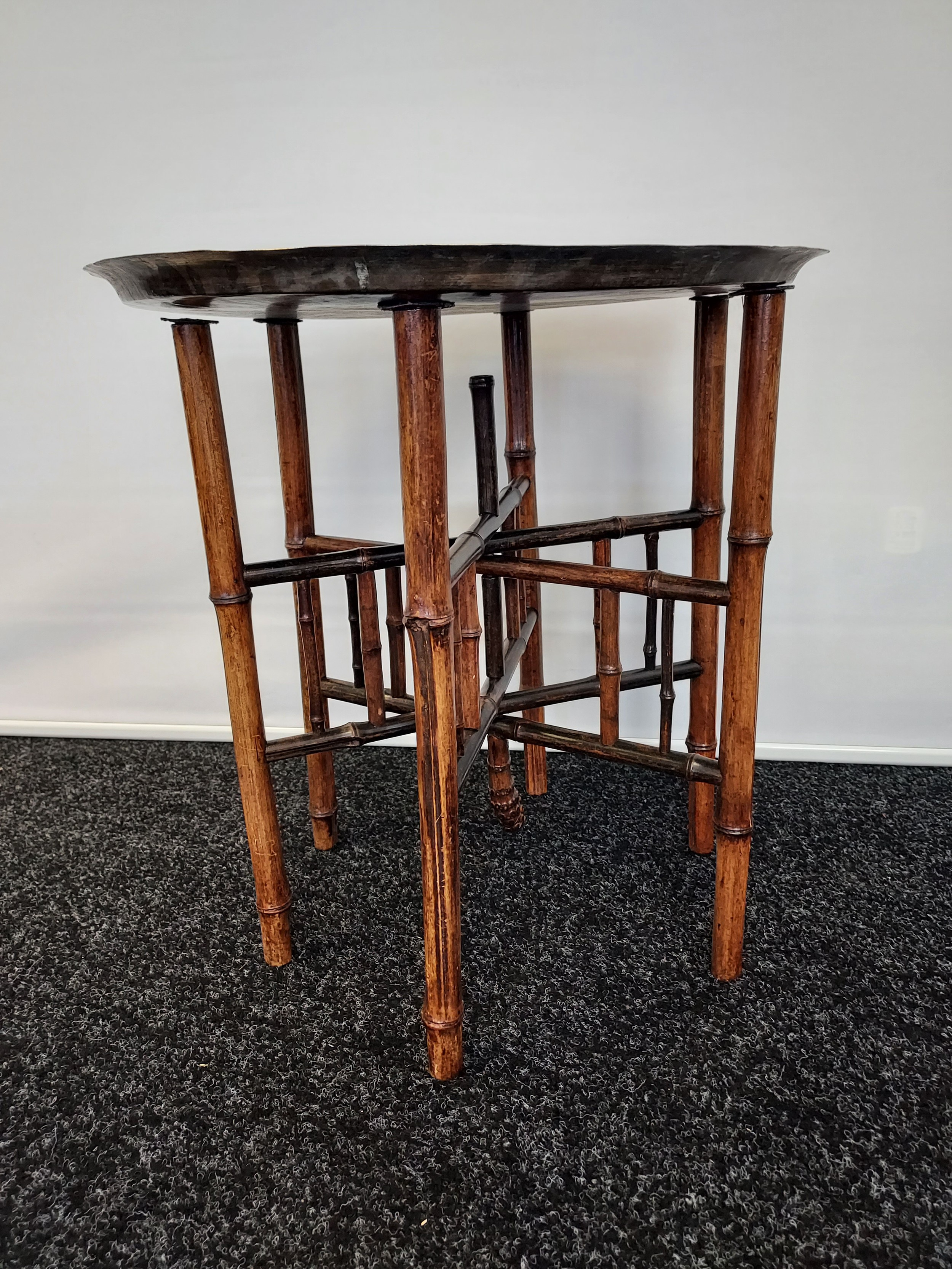 Antique Indian/ Benares decorative brass top wit folding bamboo table legs, Decoratively carved. - Image 4 of 4