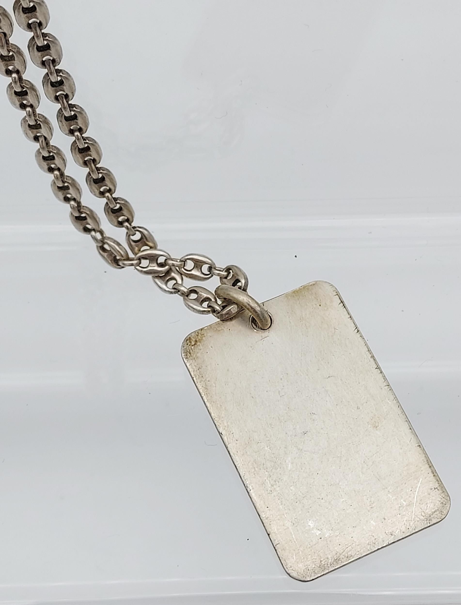 A London silver ingot with silver curb chain. - Image 4 of 4