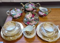 A 10 Piece Hammersley & co part tea set together with a hand painted Victorian rose design tea