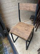 10 x Wood Effect Dining Chairs with Black Metal Frame