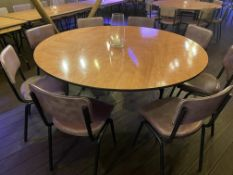 5 x Circular 5.5' Dia Dining Table with Folding Base and Light Wood Effect Surface