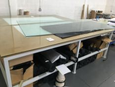 Heavy duty, glass topped alloy framed work table 3.0m x 1.5m - with integral light box
