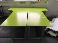 2 x Large work desk units with corner returns (2.4m x 1.1m x 0.8m)