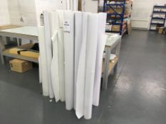 Quantity of assorted rolls of part used laminate/vinyl print media. Various widths.