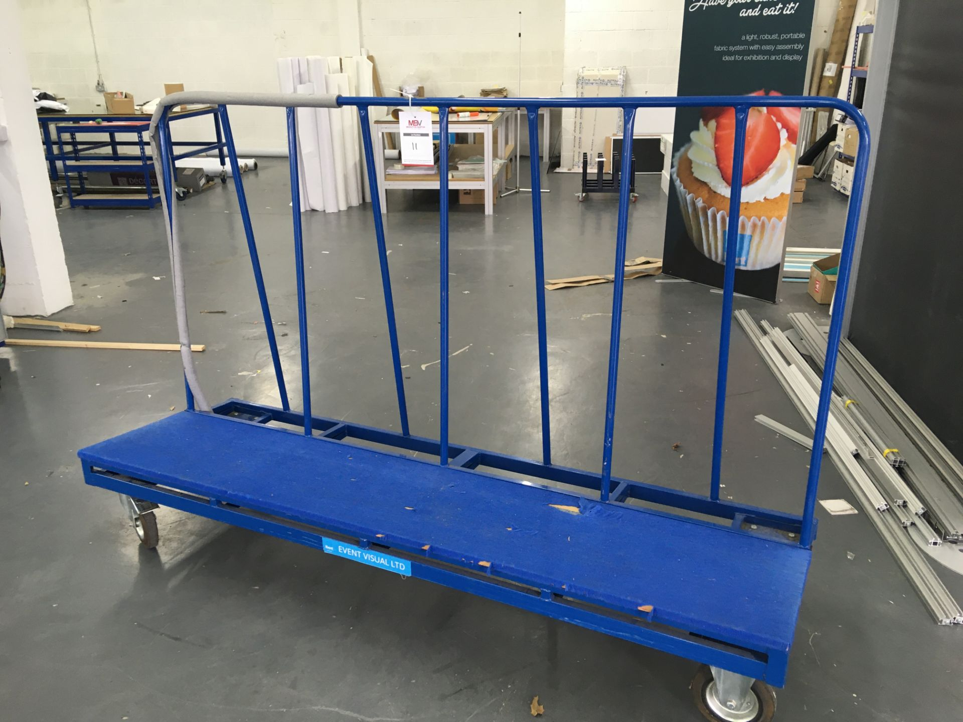 Large, wheeled Sheet / Glass / Board trolley (Length 2.25m; Height 1.2m)