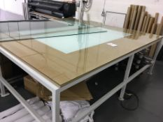 Heavy duty, glass topped alloy framed work table 3.0 x 1.5m - with integral light box.