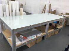 Heavy duty, glass topped alloy framed work table 3.0m x 1.2m