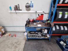 Metal work bench and contents