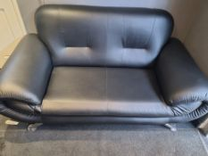 1 x 2 seater Black Leather Sofa