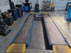 Pit mounted vehicle lift / ramp with senor pads