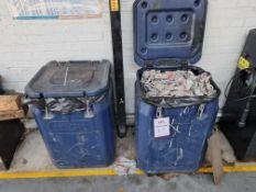 2 x Heavy Duty wheeled, clip top storage bins