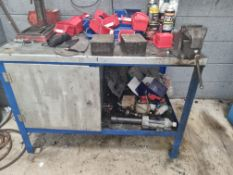 Metal Workbench with Vice and Miscellaneous Contents