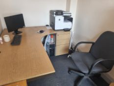 Light Oak Effect Desk, Swivel Chair and Pedestal