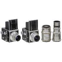 2 Primar-Reflex II und 2 Optiken1) Primar Kamera Werke VEB, Görlitz. Nr. 30520S, Verschluß: