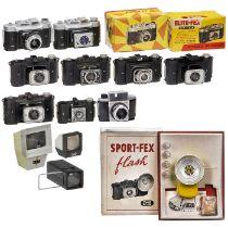 8 Fex-Kameras und -betrachterFex, Frankreich. 1) Fex 4,5, für 6 x 6 und 6 x 9 cm. Wie neu. (2-/2-) -