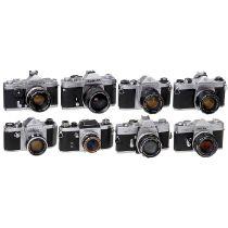 8 japanische 35mm-Spiegelreflexkameras1) Pentax K mit Auto-Takumar 1,8/55 mm, mit Offenblendhebel,